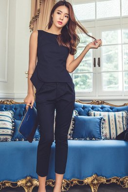2-Pc Navy Blue Boat Neckline Top And Pants