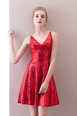 Assorted Colours V-Neck Sequins Mini Dress