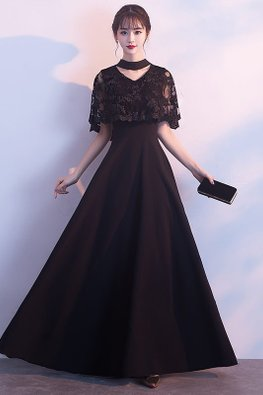 Black V-Neck Choker Cut-Out Cape Gown
