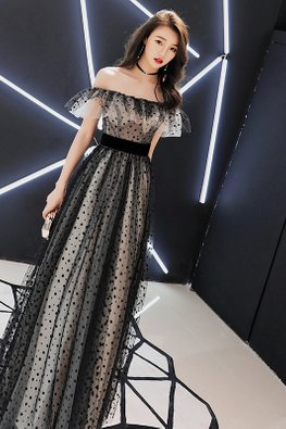 Black Off-Shoulder Ruffles Polka Dot Mesh Gown
