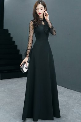 Black Ruffle Neckline Keyhole Polka Dot Illusion Sleeves Gown