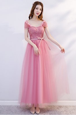 Pink Sweetheart Wrap Shoulder Back Ribbon Dress