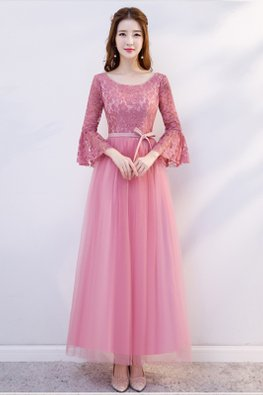 Pink Round Neck Trumpet Sleeves Ribbon Dress