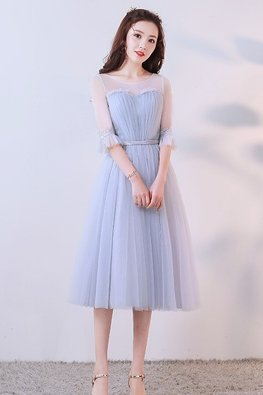 Silver Grey Sweetheart Illusion Trumpet Sleeves Dress