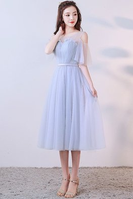 Silver Grey Sweetheart Illusion Cut-Out Sleeves Dress