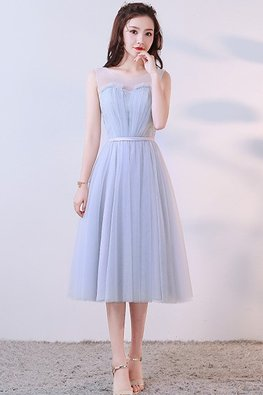 Silver Grey Sweetheart Illusion Sleeveless Dress