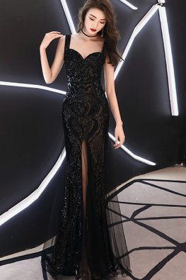 Black Sweetheart Sequins Mermaid Mesh Gown