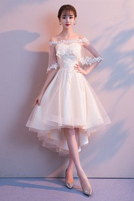 2-Pc Champagne Sweetheart Illusion Cape Hi-Lo Gown