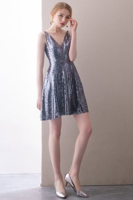 Assorted Colours V-Neck Sequins Mini Dress