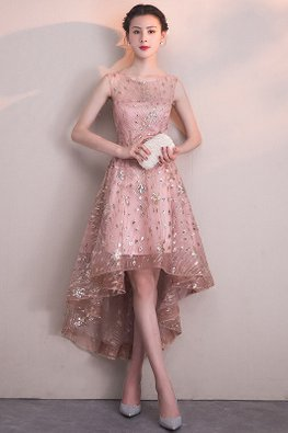 Pink Illusion Neckline Sequins Embroidery Hi-Lo Gown