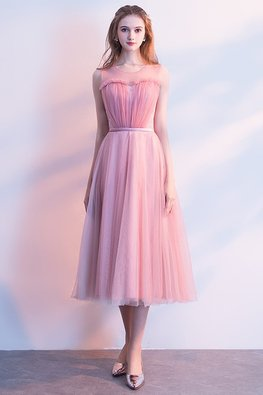 Pink Sweetheart Illusion Sleeveless Dress