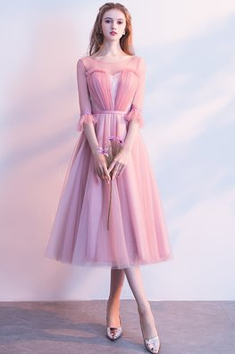 Pink Sweetheart Illusion Trumpet Sleeves Dress