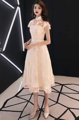 Champagne Mandarin Collar Sweetheart Illusion Lace Dress