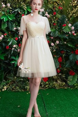Champagne Sweetheart Illusion Wide Sleeves Dress
