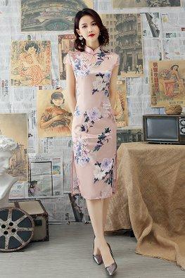 Pink Mandarin Collar Keyhole Floral Silk Cheongsam
