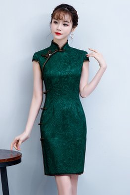 Green Brown Trimmings Side Knots Lace Cheongsam