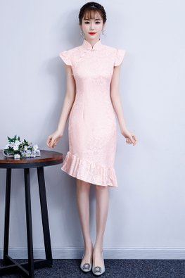 Pink Ruffle Sleeves Asymmetrical Mermaid Cheongsam
