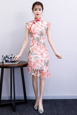 White Ruffle Sleeves Asymmetrical Mermaid Floral Cheongsam