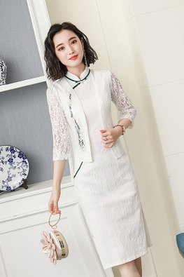 2-Pc White Green Trimmings Cheongsam And Lace Outerwear