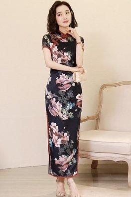 Black Red Lace Trimmings Mandarin Collar Floral High-Slit Cheongsam