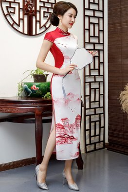 Red / Black Mandarin Collar Two-Tone Chinese Painting Cheongsam