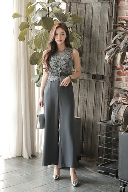 1-Pc Grey Round Neck Lace Wide Leg Jumpsuit