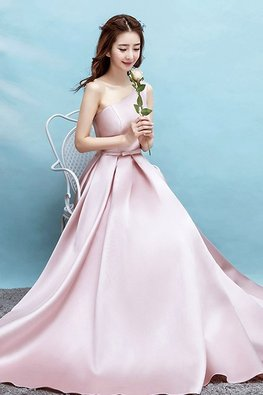 Dusty Pink One-Shoulder Lace-Up Gown