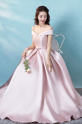 Dusty Pink Inverted Off-Shoulder Lace-Up Gown