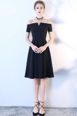Black Off-Shoulder Mini V A-Line Dress