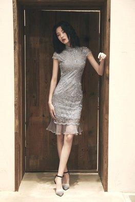 Grey Lace Embroidery Mermaid Cheongsam (Express)