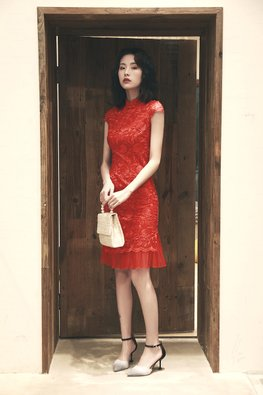 Red Lace Embroidery Mermaid Cheongsam (Express)