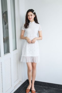 White Mandarin Collar Tulle Lace Cheongsam