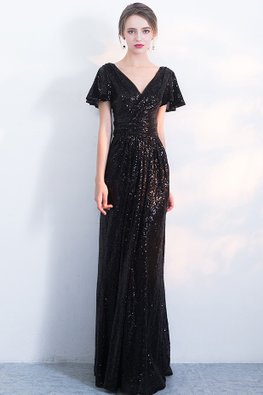 Assorted Colours V-Neck Butterfly Sleeves Sequins Gown