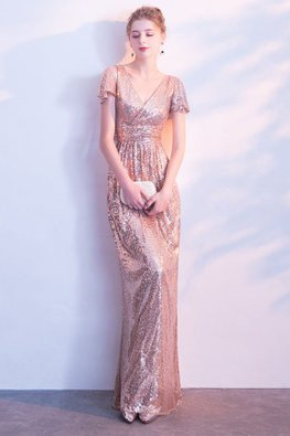 Rose Gold V-Neck Butterfly Sleeves Sequins Gown (Express)