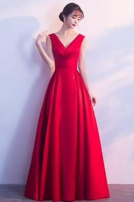 Red Classy V-Neck Pleated Lace-Up Gown (Express)
