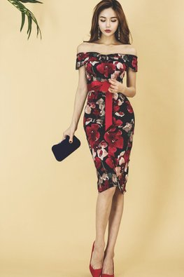 Off-Shoulder Red Ribbon Floral Dress