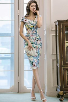 Blue Asymmetrical Floral Sheath Dress
