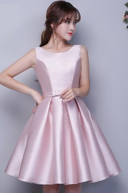 Pink Jewel Neckline Waist Bow Satin Lace-up Gown