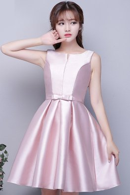 Pink Jewel Mini V Neckline Waist Bow Satin Lace-up Gown