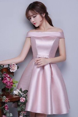 Pink Off-Shoulder Waist Bow Satin Lace-up Gown