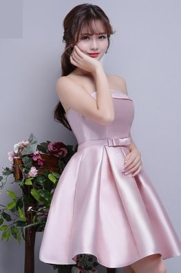Pink Straight Across Waist Bow Satin Lace-up Gown