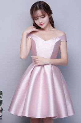Pink Off-Shoulder V-Neck Waist Bow Satin Lace-up Gown