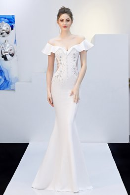 White / Black Sweetheart Ruffle Off-Shoulder See-Through Mermaid Gown