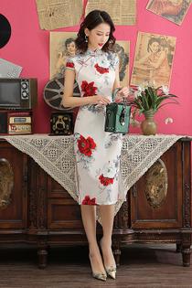 7a3deb6ee White Mandarin Collar White Red Rose Prints Cheongsam