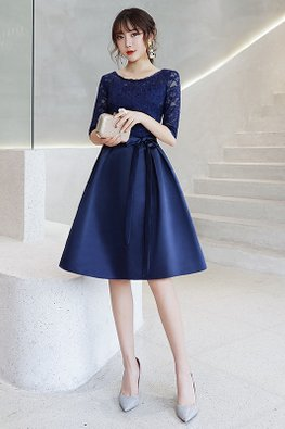 Blue Illusion Lace Elbow Sleeves Ribbon Dress