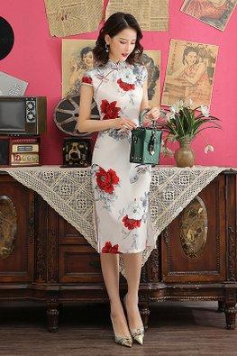 White Mandarin Collar White Red Rose Prints Cheongsam