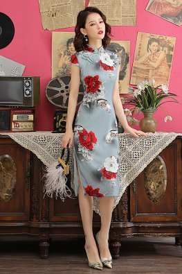 Grey Mandarin Collar White Red Rose Prints Cheongsam