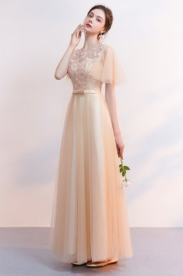 Champagne Sweetheart Illusion Wide Sleeves Lace-up Gown