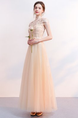 Champagne Mandarin Collar Cap Sleeves Lace-up Gown