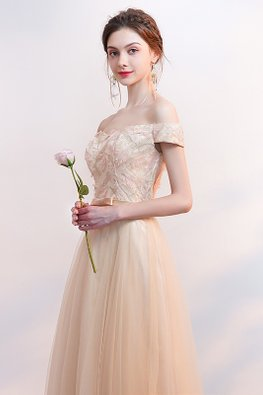 Champagne Off-Shoulder Lace-up Gown